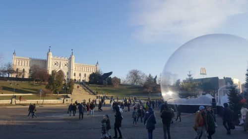 giant snow globe for event